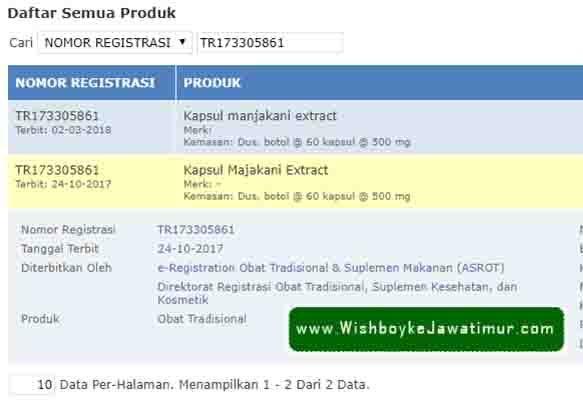 BPOM Produk Wish Premium Majakani Extract Original Surabaya Medan Pekan Baru Palembang Makassar BPOM Terpercaya